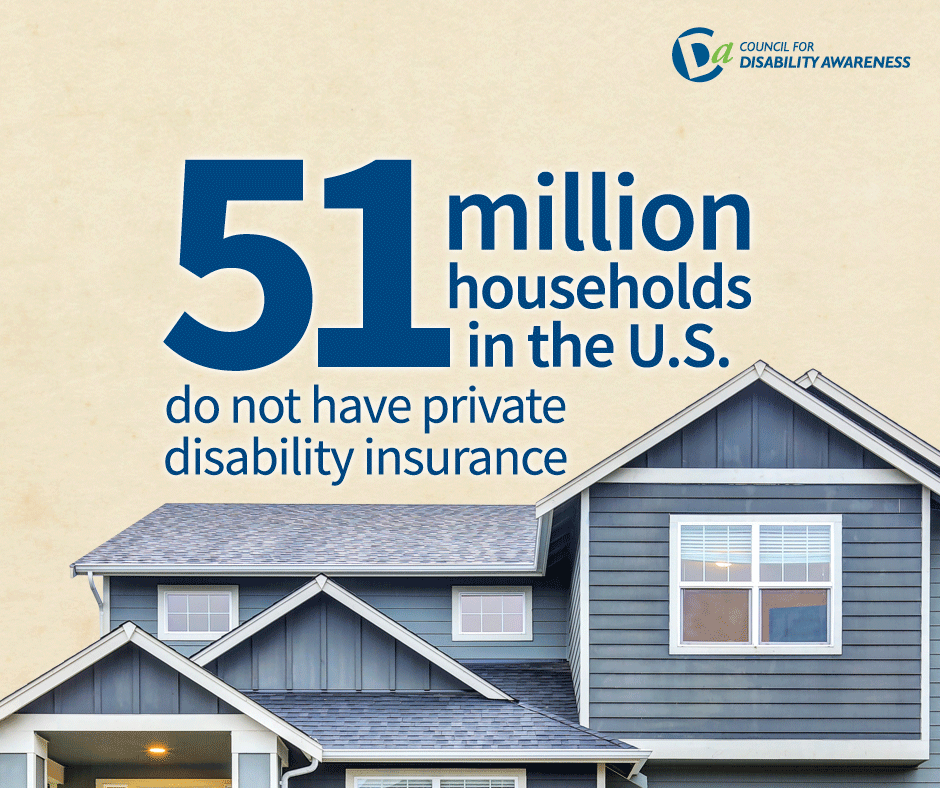 Image of a house with wording: 50 million households in the US do not have private disability insurance